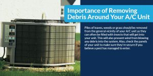 Importance of removing debris around your A/C Unit   The Energy Centre