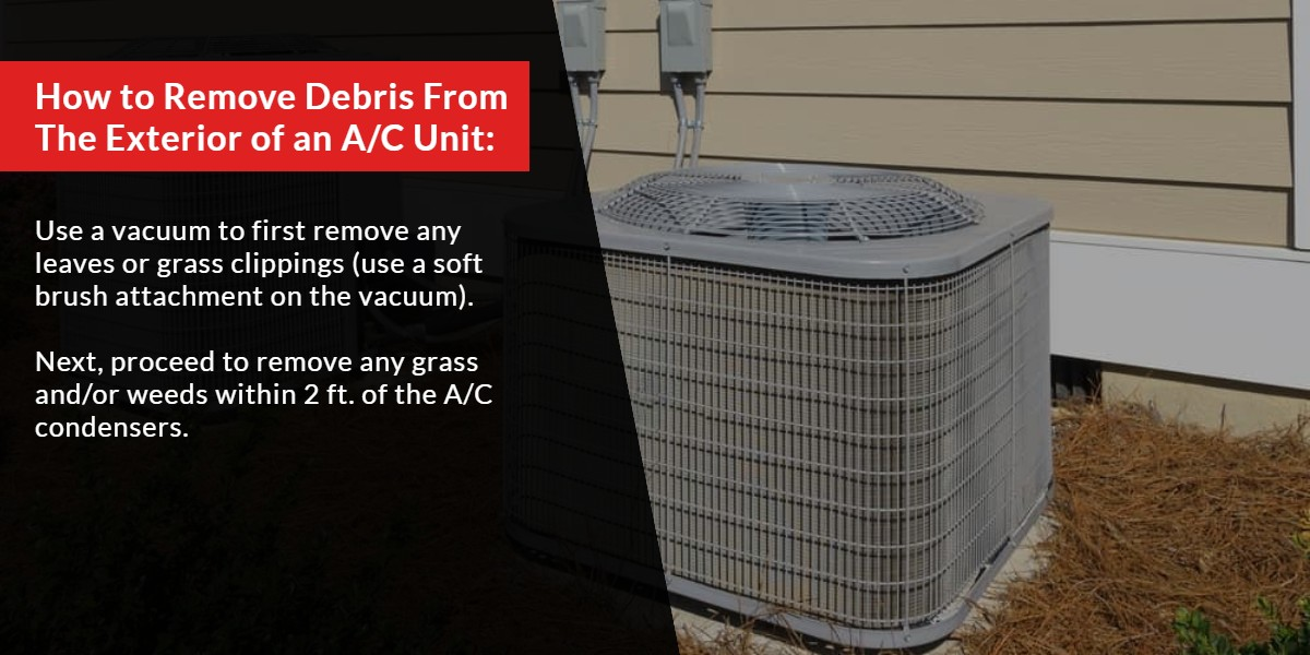 How to remove debris from the exterior of an A/C Unit | The Energy Centre